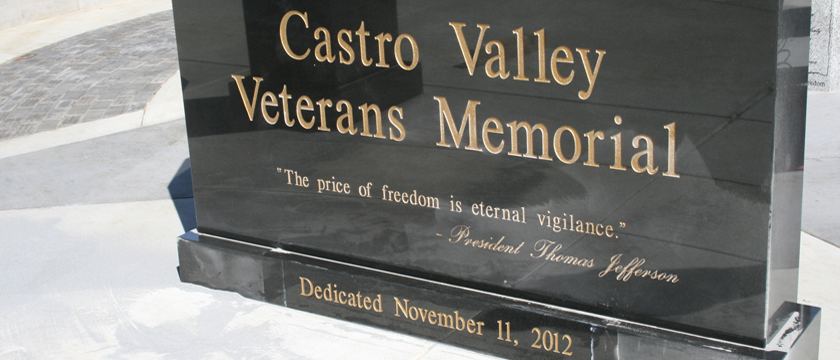 Castro Valley Veterans Memorial - Entry Stone