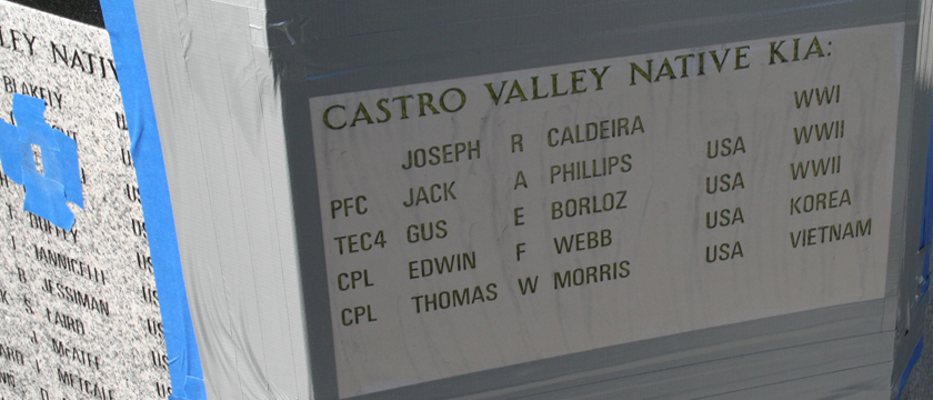 Castro Valley Veterans Memorial - Stone Engravings